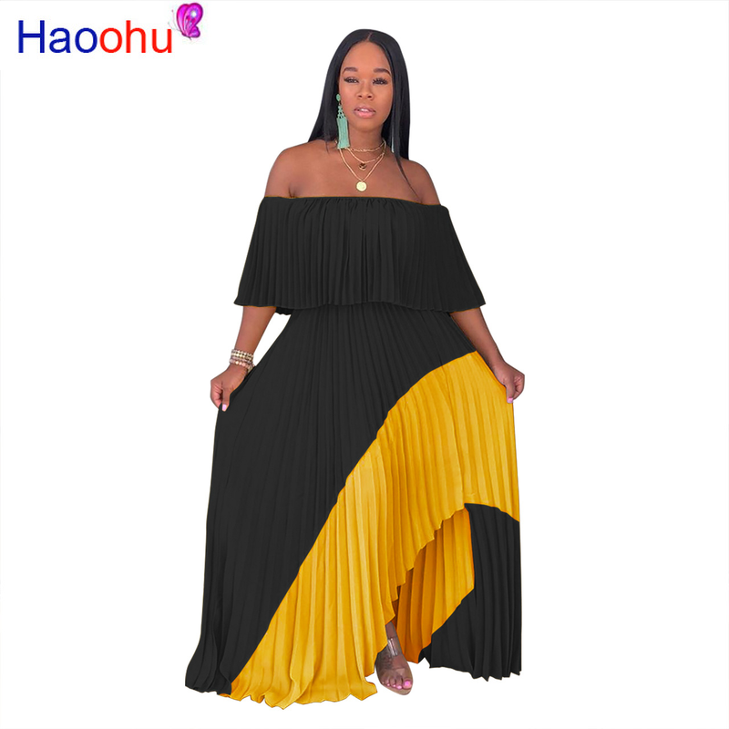 Color Block Spliced <font><b>Sexy</b></font> Chiffon <font><b>Dress</b></font> Women <font><b>Slash</b></font> Neck Ruffles Sleeve Pleated <font><b>Dress</b></font> Casual Off Shoulder Side Split Beach <font><b>Dress</b></font> image