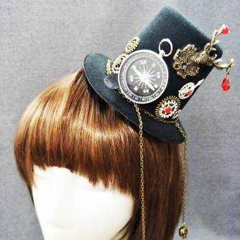 Victorian Punk Mini Top Hat Party Hat Dancing Cocktail Hair Clip Gothic Mini Hats Steampunk Accessories  1