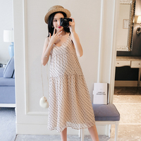 Sling Heart Dress Maternity Clothes For Pregnant Women Casual Loose Chiffon Pregnancy Dress Gravida Clothing Pink Mother wear