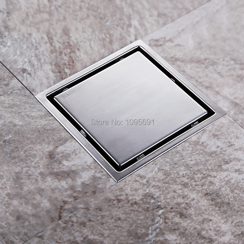 ФОТО Tile Insert Square Floor Waste Grates Bathroom Shower Drain 150 x 150MM,304 Stainless steel-T6235