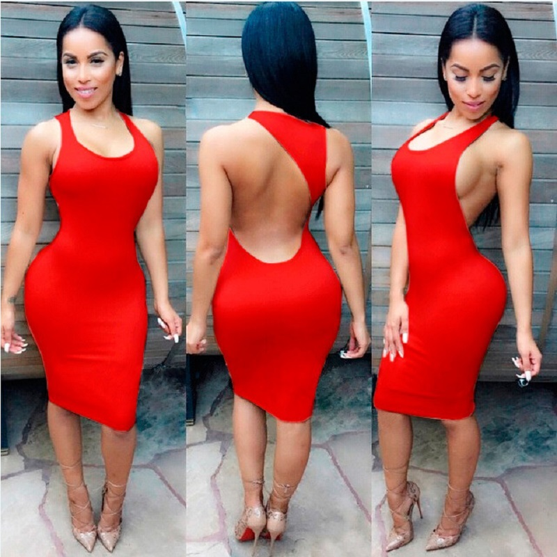 Women Sexy Dress 2018 Summer Fashion Party Dresses Plus Size Backless Club Clothes-in Dresses ...