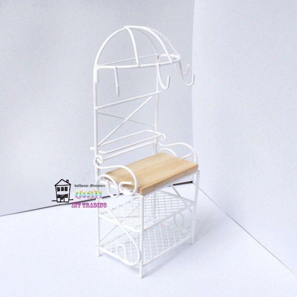 1//12 weißes Metall Lagerregal Regal Puppenhaus Miniatur Küchenmöbel