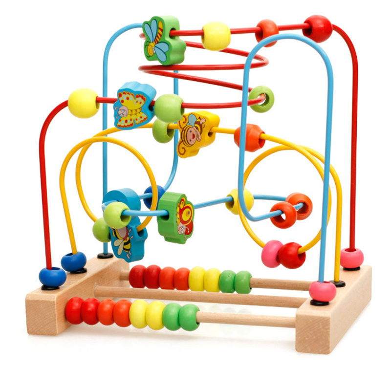 Kids Wooden Math Toy Counting Circles Bead Abacus Wire Maze Roller Coaster Montessori Educational for Children(China)