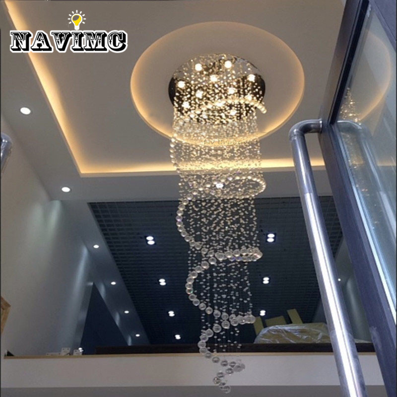 D80CM Modern led Spiral Lustre Crystal Chandelier Light Fixtures Long Stair Light for Staircase Hotel Foyer Living Room navimc moon and star spiral design crystal chandelier lustre stair light fixture for hotel hallway