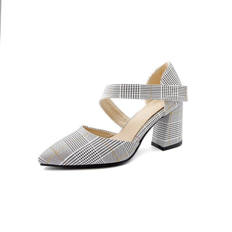 Xianyiduo/Новинка 2019 года; модные летние вечерние женские туфли; босоножки с закрытым острым носком на квадратном каблуке; пикантные туфли на за... - 6