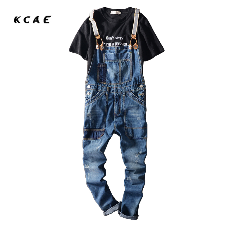 2017 New Arrival Stretched Mens Slim Straight Denim Overalls Distressed Jeans Ripped Jumpsuit Male Suspenders Bibs Blue denim overalls male suspenders front pockets men s ripped jeans casual hole blue bib jeans boyfriend jeans jumpsuit or04