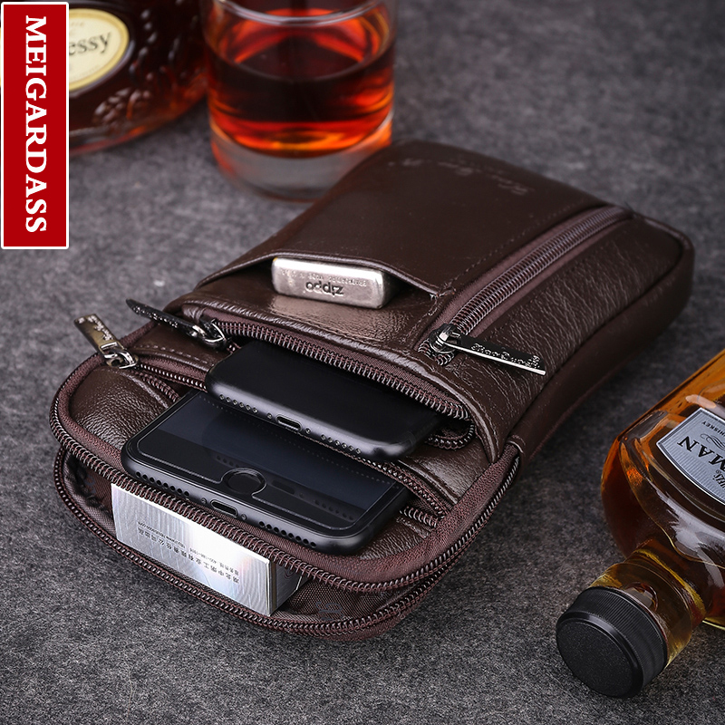 new style genuine leather mens bag 6.5 inch Small shoulder bag Messenger ba mobile phone bags