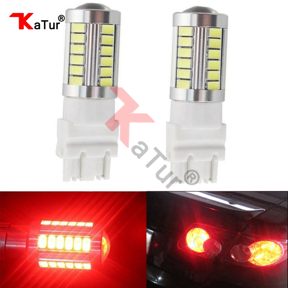 Красные светодиодные лампы для автомобилей, 3157, 3047, 3057, 5630, 33-SMD, 900 люмен, супер яркие, 3,6 Вт, светодиодные, поворотные, стоп-хвостовые лампы от Katur, 2 шт.