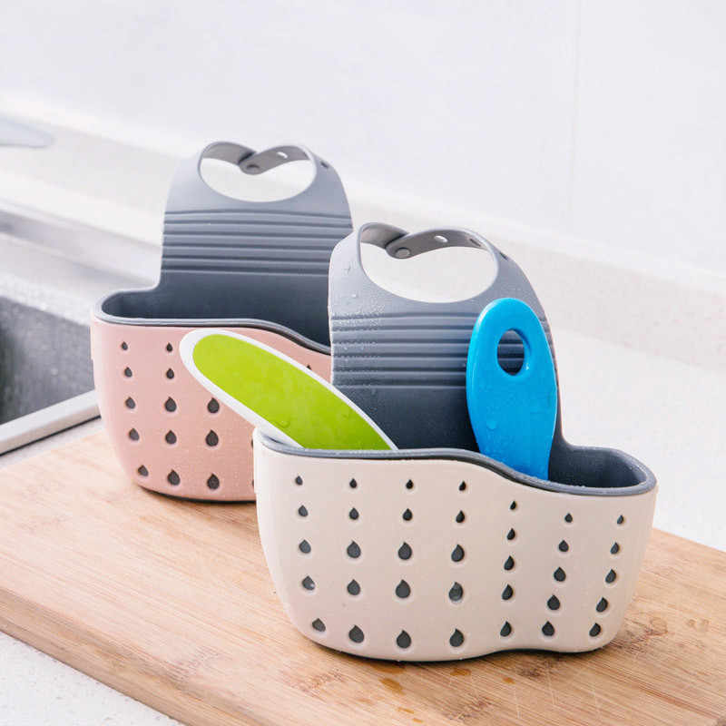 Double Hollowed-out Suction Cup Sink Rack Soap Sponge Drain Rack Strainer Bathroom Draining Storage Basket Racks Box Bags