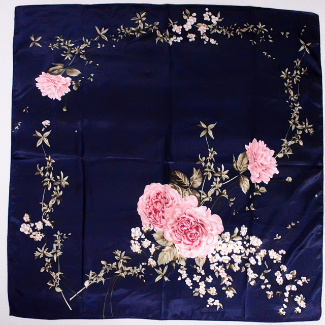 Women's Square Glossy Patterned Chinese Scarf