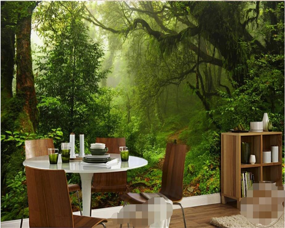 Beibehang Custom 3d Wallpaper Nature Primitive Forest Woods Scenic Path Trees Painting TV Sofa Background Murals 3d Wallpaper