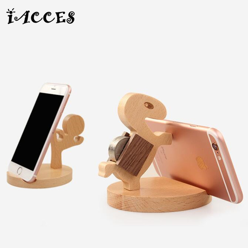 New Wooden Toys Model Mobile Phone Stand Cute Human and Horse Style Holder Lightweight Slim