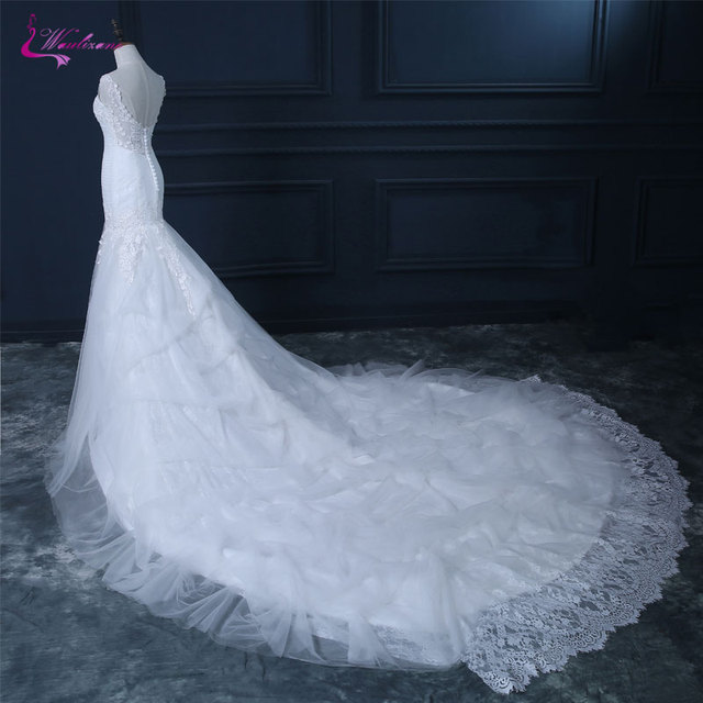 9400cc831c Waulizane Luxury Appliques Lace Tulle V-Neck Mermaid Wedding Dresses  Sleeveless Embroidery Chapel Train Bridal Gowns Hot Sale