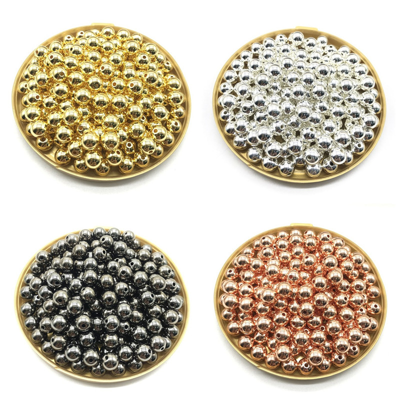 Оптовая продажа 3 4 6 8 10 12 мм 30-500 шт. золото/серебро/пистолет-покрытие металлом CCB круглое семя Spacer Бусины для самостоятельного изготовления ювелирных изделий