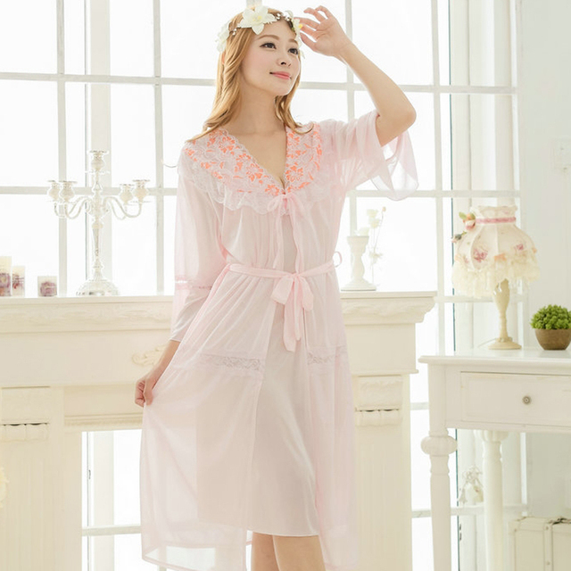 Free shipping lace Long sexy nightdress for women pajamas robe sets bathrobe Sleepwear long nightgown night dress pink Y231
