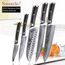 SUNNECKO 5PCS Kitchen Knives Set Damascus Chef Utility Slicing Paring Knife Japanese VG10 Steel G10 Handle Santoku Cutting