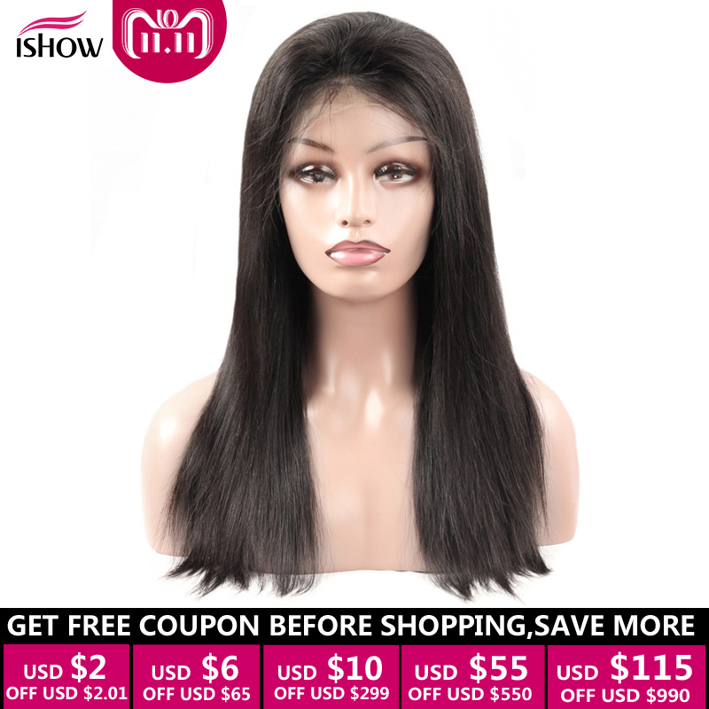 Ishow 360 Lace Frontal Human Hair Wigs Pre Plucked With Baby Hair 8 20 Brazilian Straight