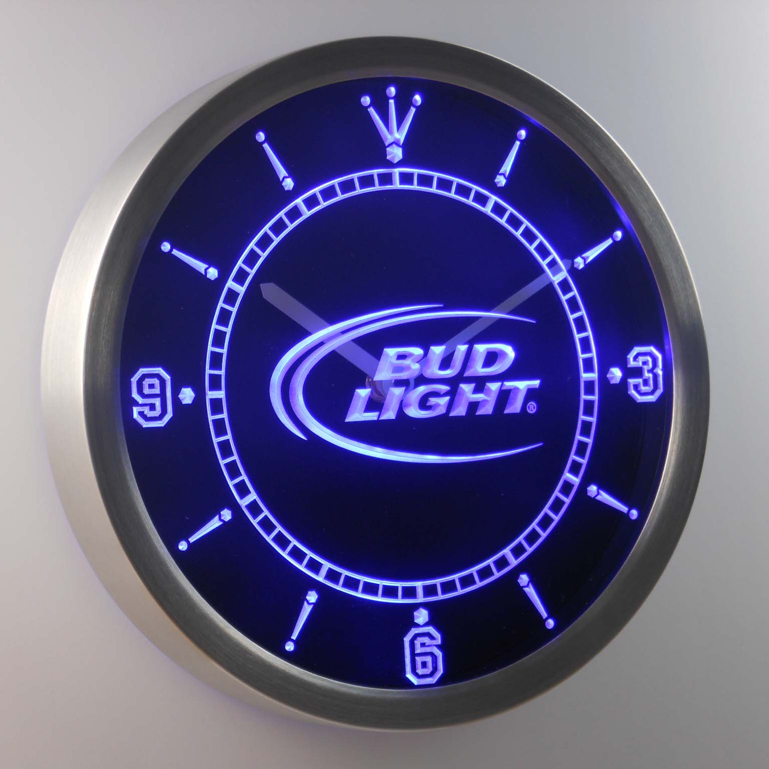 nc0470 Bud <font><b>Light</b></font> Beer Bar Neon Sign LED Wall Clock