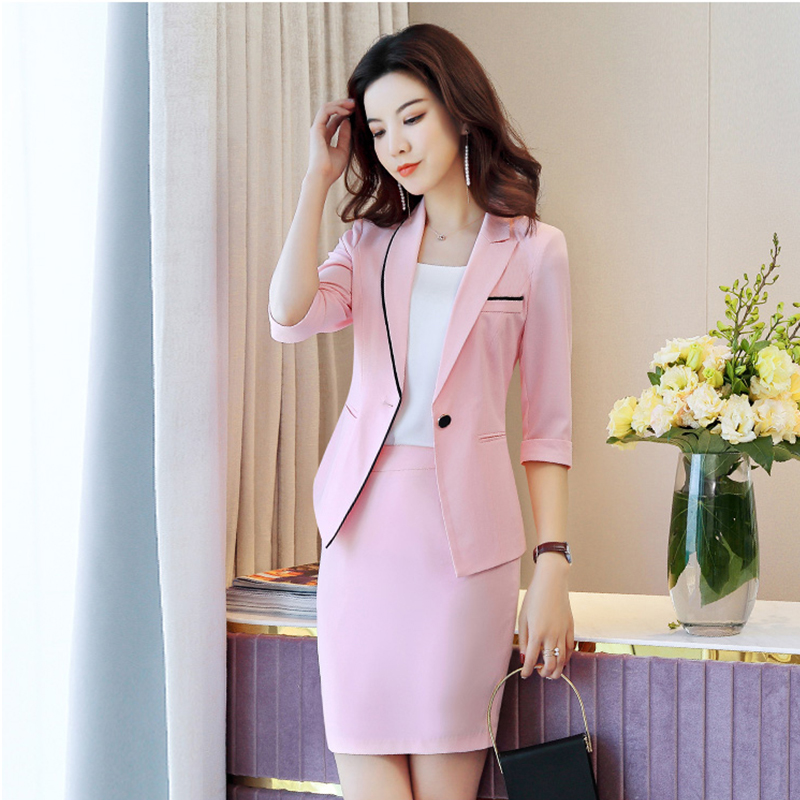 2019 Summer Women Professional Skirt Suits Fashion Slim OL Style Suit Two Piece Lady Office Suits Half Sleeve Blazers and Skirts