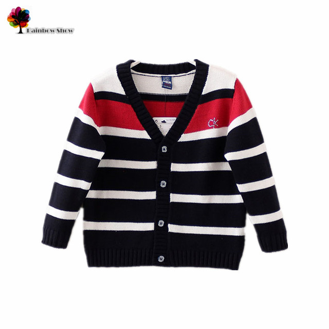 New Children Clothing Boys Autumn Spring Colorful Striped Full Cardigan Children Sweaters Quality Cotton Cardigan
