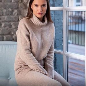Image 2 - Autumn winter Knitted tracksuit Turtleneck sweatshirts Fashion Women Suit clothing 2 Piece set Knit pant Female Sporting suit
