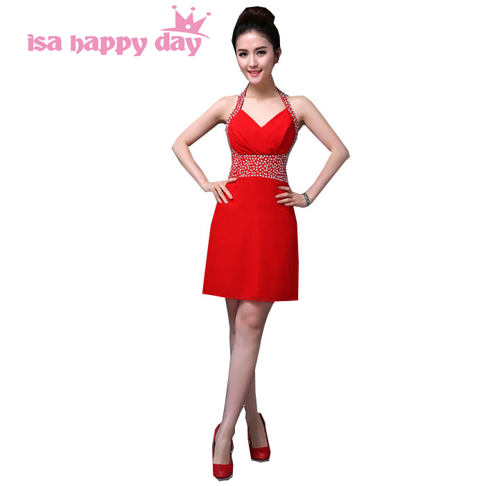 Day Gown Women Short Beautiful Sexy Sleeveless Red Halter