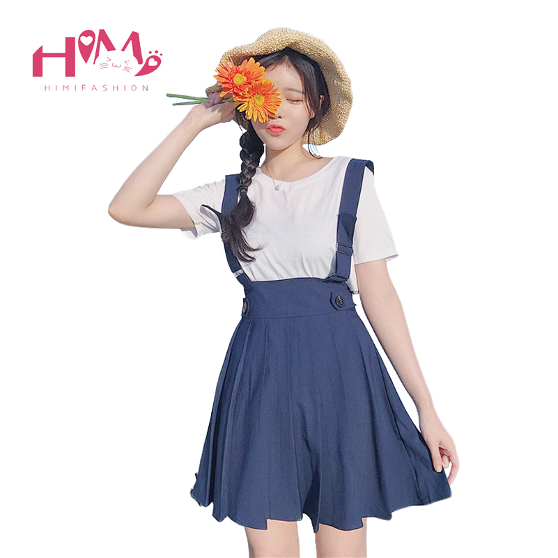 Japanese College Lady Vintage Suspenders Skirt All Match Kawaii Pleated Strap Mini Skirt For School Girl Navy 2017 New Arrival
