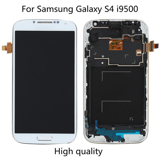 High quality White Blue For samsung galaxy s4 gt-i9500 i9505 lcd display Touch Screen with Digitizer assembly with frame