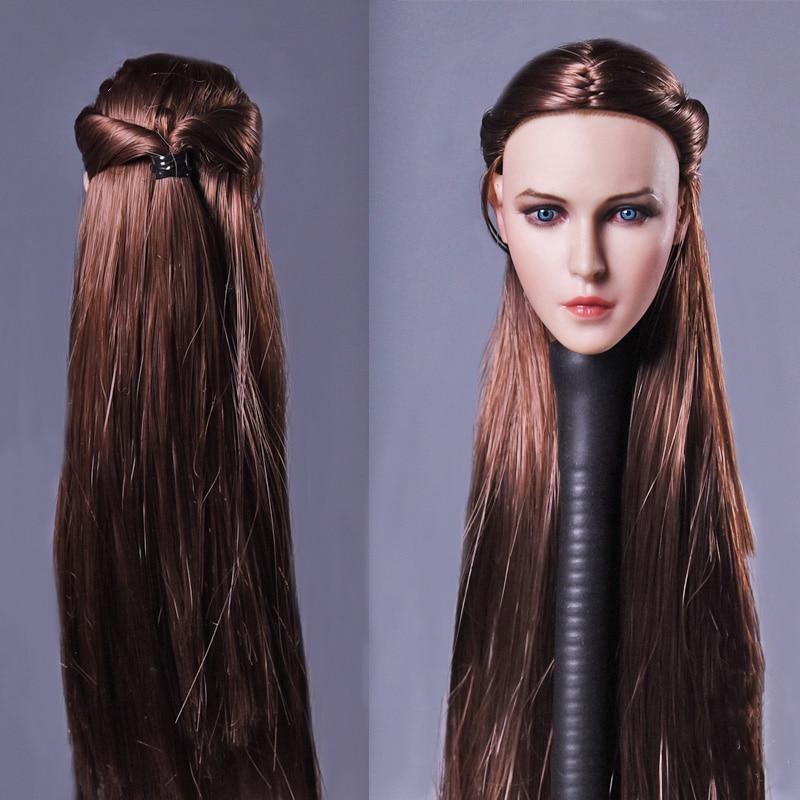 1/6 Beautiful Women Head Sculpt Long Straight Brown Hair For 12 Female Figure Bodies