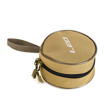Single Layer Reel Bag Multi-function Canvas Round Zipper Pouch for Fishing