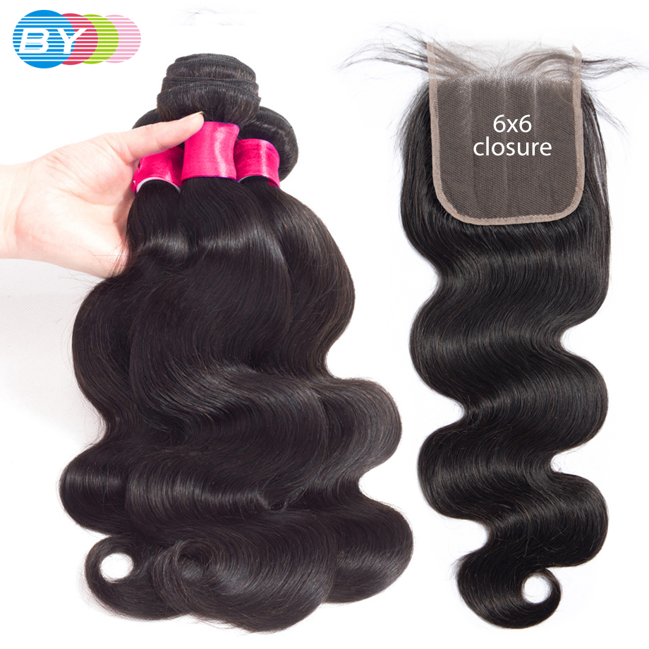 BY 6x6 Lace Closure Pre Plucked Brazilian Bundles With Closure Body Wave Human Hair Bundles With