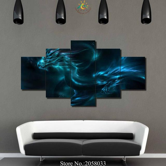 3 4 5 Pieces Abstract Dragon Wall Art Paintings Wall Paining Canvas Picture  For