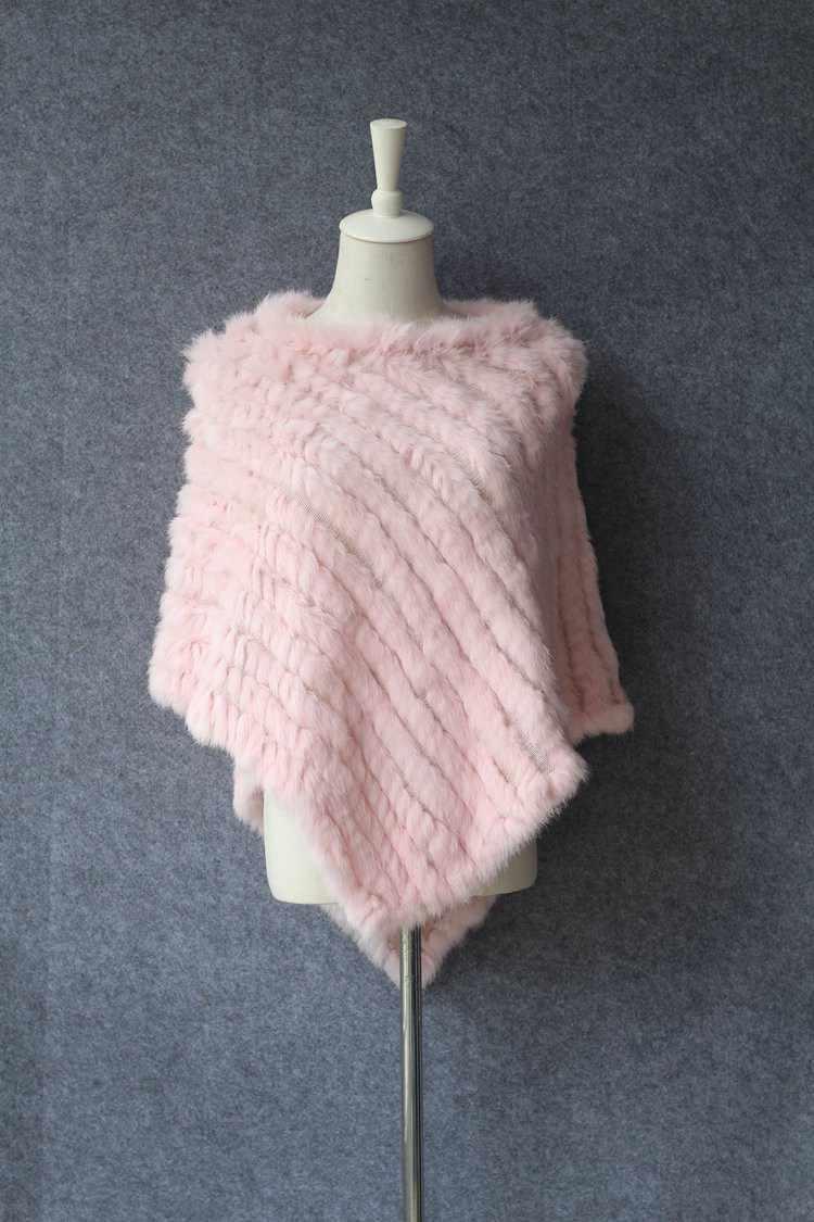 Kış Ceket Kadın Moda Tavşan Üçgen Şal Dokuma Pelerin El örme Gerçek Kürk Ceket kadın Tavşan Kürk Palto pelerinler ve Pançolar