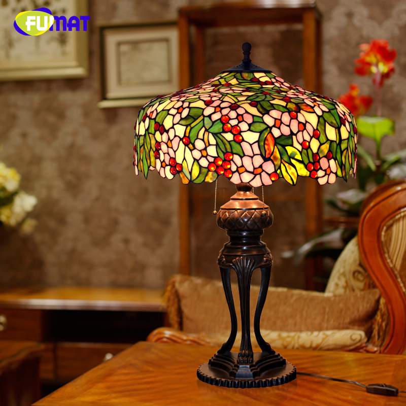 FUMAT Art Stained Glass Table Lamp Luxury Apple Flower