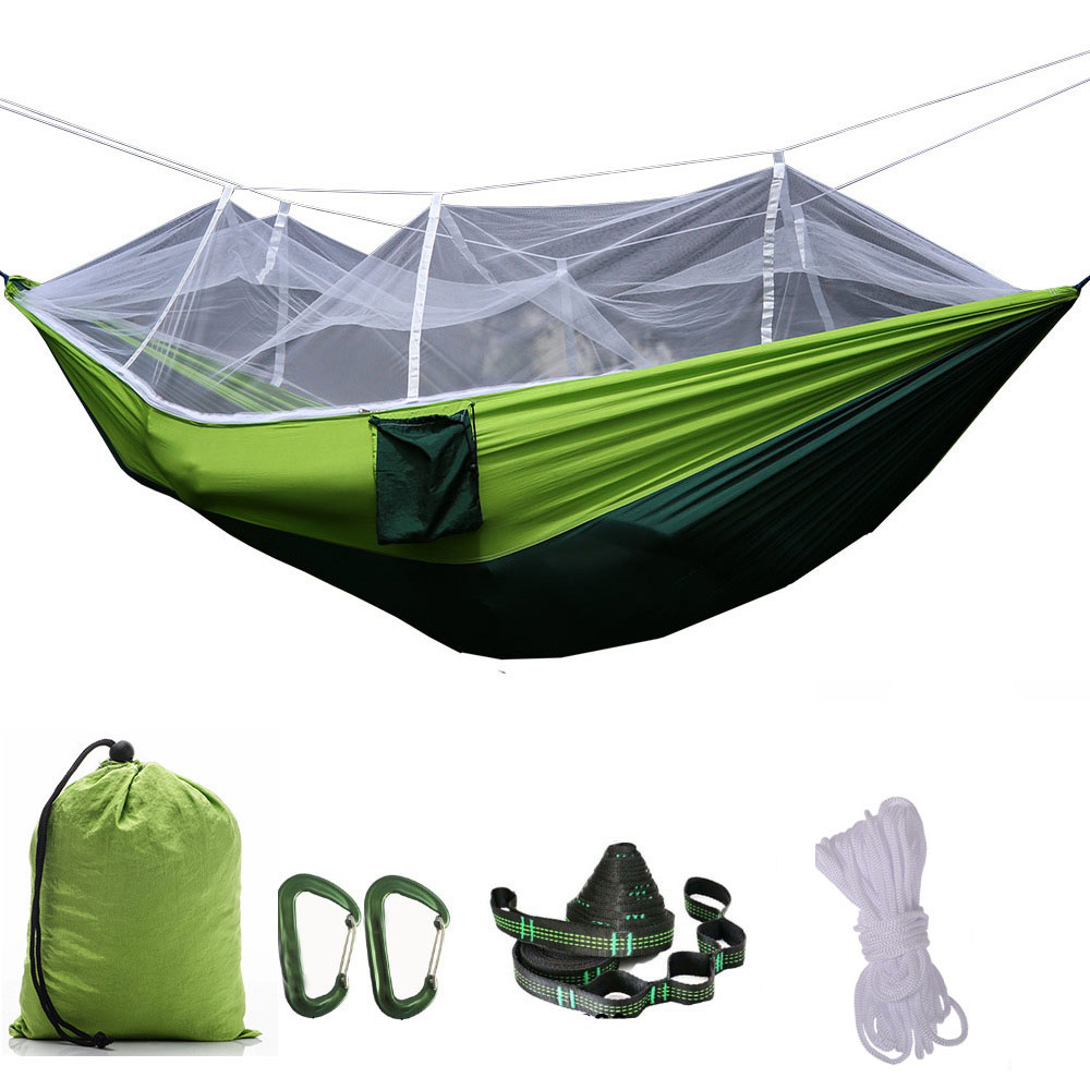 Portable Mosquito net Hammock Double-person Folded Into The Pouch Mosquito Net Hammock Hanging Bed For Travel Kits Camping ultralight outdoor camping mosquito net parachute hammock 2 person flyknit garden hammock hanging bed leisure hammock travel kit