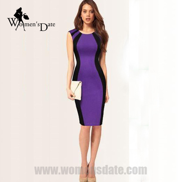 e5b0ed19a8 WomensDate Hot Spring Sexy Slim Package Hip Dress Pencil Dresses Women  Round Neck Sleeveless Bodycon Dress Purple Black Dresses