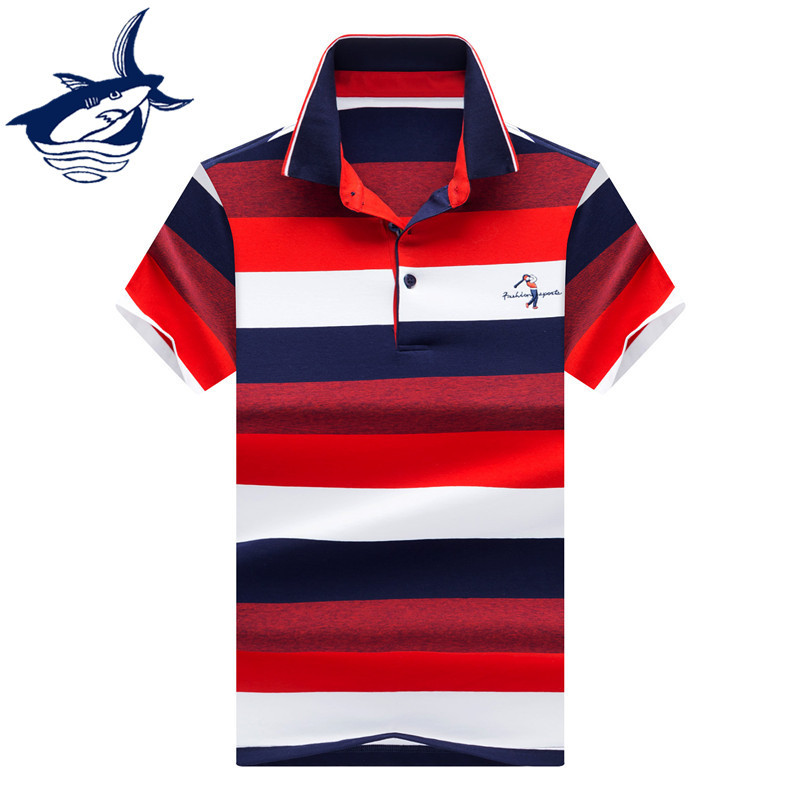 Fashion Men Clothes 2018 Summer Classic Cotton Striped   Polo   Shirt Men High Quality Tace Shark   polos   para hombre