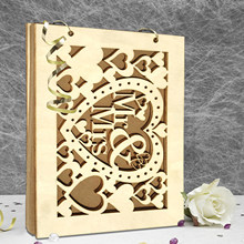 Wedding Guest book A4 Size with 20/30 Pages Personalized Signature Guestbook Custom Wood DIY Photo book Signature Wedding Decor(China)