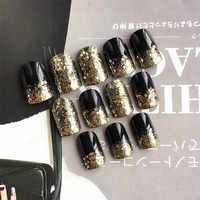 Shiny Glittler False Nails with glue Short Black Fake Nails Gold Sequins Patch Nails artificial nails Full tips faux ongle