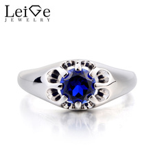 Leige Jewelry Solitaire Ring Promise Ring Lab Sapphire Ring Round Cut Blue Gemstone September Birthstone 925 Sterling Silver