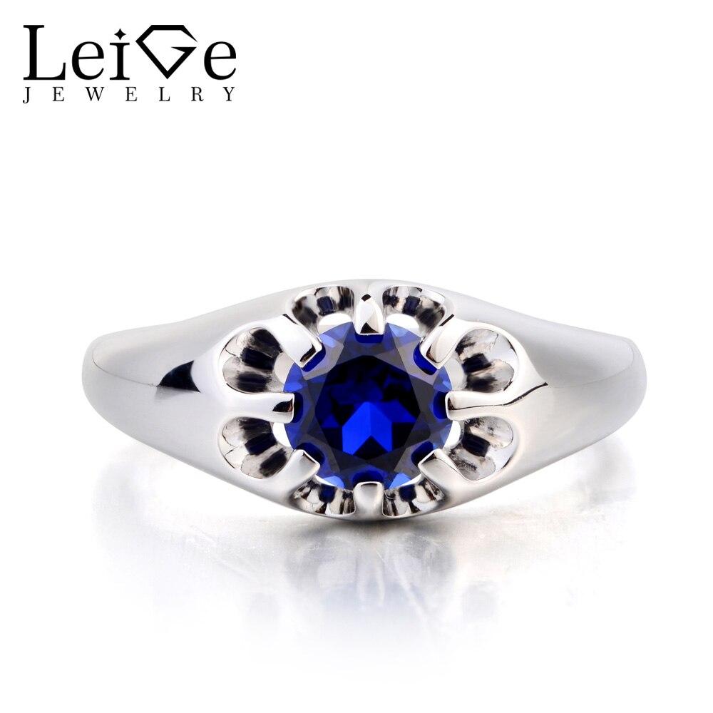 Leige bijoux bague Solitaire promesse bague laboratoire saphir bague ronde coupe bleue pierre gemme septembre pierre de naissance 925 argent Sterling