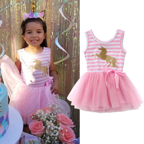 0172e30b081d 2018 New Pink Dress Sweet Baby Girls Unicorn Stirped Dress Kids Princess  Birthday Party Wedding Children Lace Tutu Dresses Hot