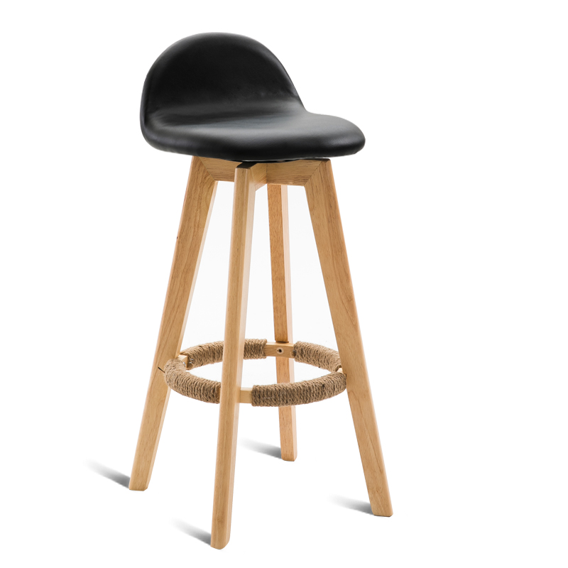 Simple Solid Wood Bar Chair With Backrest Retro Household Rotated Washable High Stool With Footrest Wooden Front Desk Bar Stool