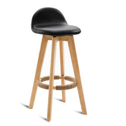 Простой твердой древесины барный стул со спинкой Ретро Бытовая поворачивается моющиеся высокий табурет с подножкой деревянный