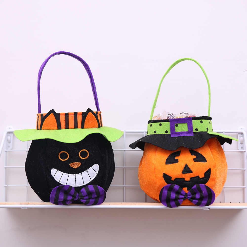 Хэллоуин конфеты подарочные сумки с круглой крышкой Tote сумки Тыква Ведьма черная кошка форма ткань сладости мешок для конфет 2019 горячие продажи
