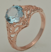Free shipping unique custom processing rose gold jewelry fine carving decorative pattern design Aquamarine, 925 silver ring