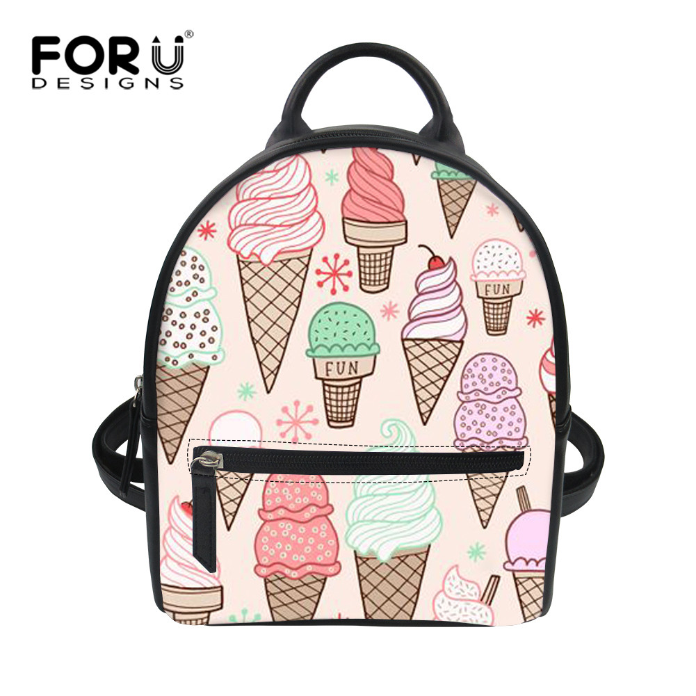 b12bc73ce5b9 FORUDESIGNS 3D Print Cartoon Ice Cream Shoulders Bag Woman Small PU Backpack  for School Ins Cute