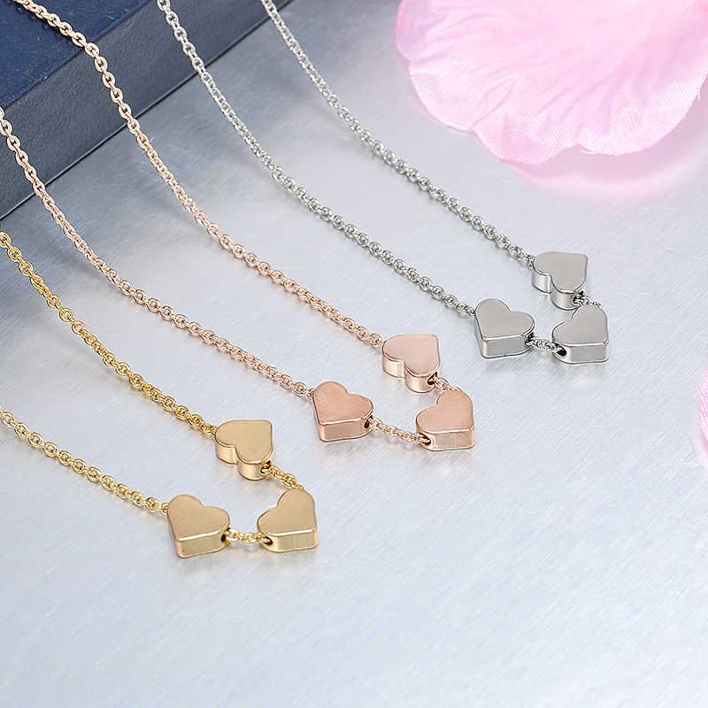 Fashion Jewelry Necklace Three Love Heart Gold  Sequin Bead Pendant Necklace Women Choker Jewelry