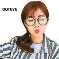 OUTEYE Harajuku Das Mulheres Óculos Moldura de Espelho Simples Óculos De Lente Clara óculos de Metal Frame Ótico Rodada Menina feminino de grau W0