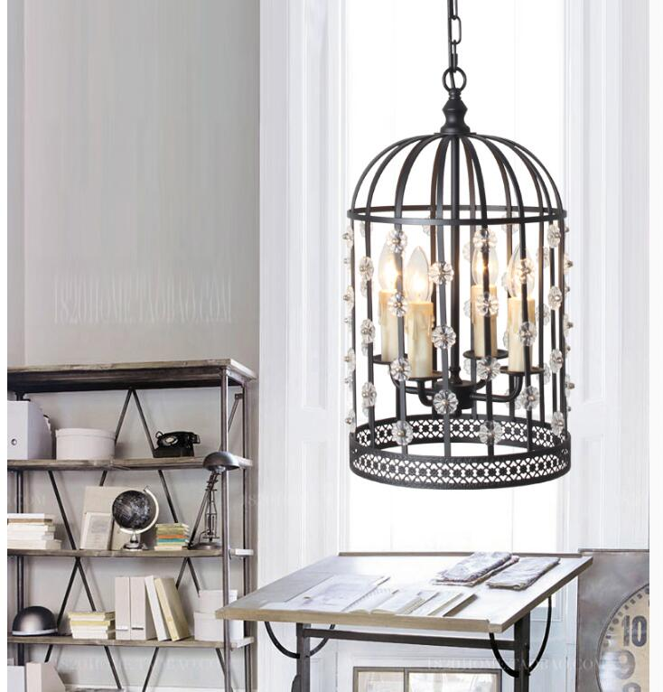Free Shipping, Loft Vintage Hanglamp Fixtures Bird Cage Crystal E14 Glass and Iron Pendant Lights, Vintage Industrial Lighting new loft vintage iron pendant light industrial lighting glass guard design bar cafe restaurant cage pendant lamp hanging lights